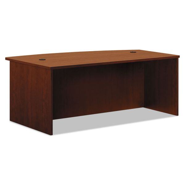 HON BL Laminate Series Bow Front Desk Shell, 72w x 42w x 29h, Medium Cherry