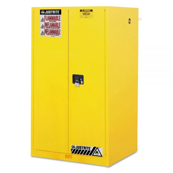 JUSTRITE Sure-Grip EX Standard Safety Cabinet, 34w x 34d x 65h, Yellow
