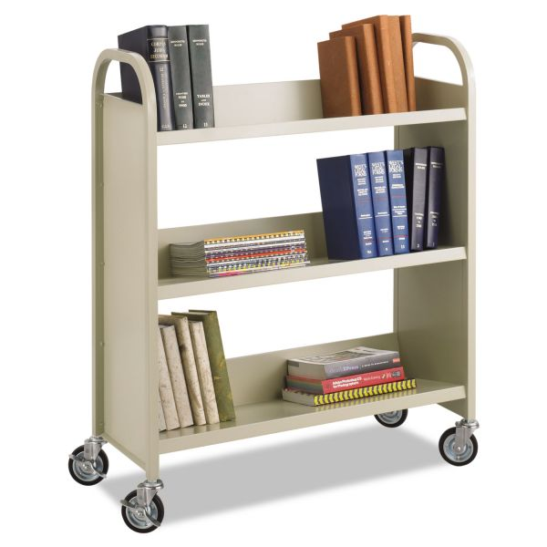 Safco Steel Book Cart, Three-Shelf, 36w x 14-1/2d x 43-1/2h, Sand