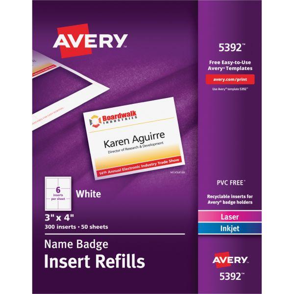 Avery Name Badge Insert Refills