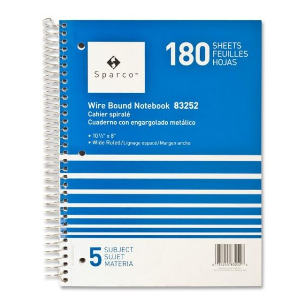 Sparco Quality 5-Subject Spiral Notebook