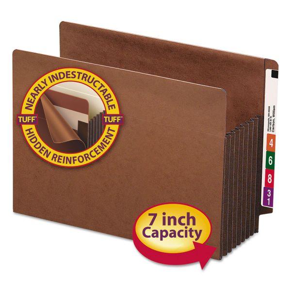 "Smead 7"" Exp File TUFF Pockets, Straight Tab, Letter, Redrope, 5/Box"