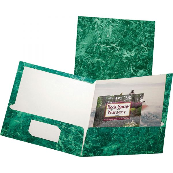 Oxford Marble Design Laminated High Gloss Twin Pocket Folder, 100-Sheet Capacity, Emerald Green, 25/Box