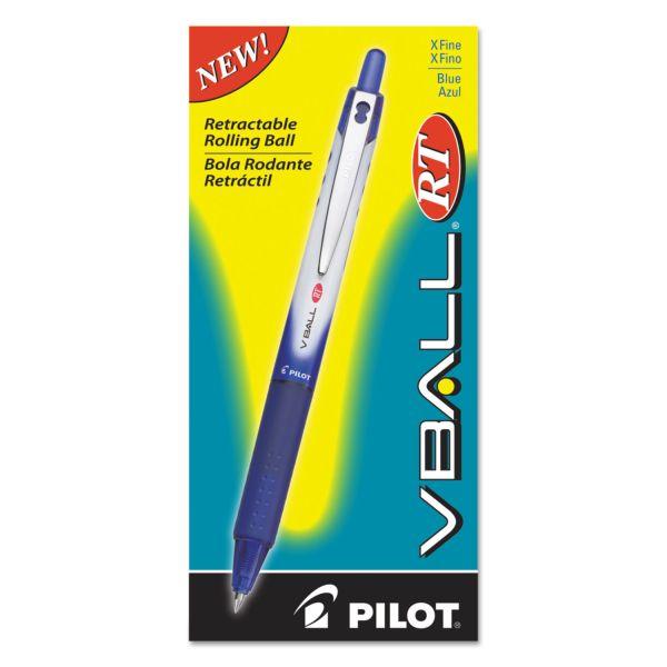 Pilot VBall RT Liquid Ink Retractable Roller Ball Pen, Blue Ink, .5mm, Dozen