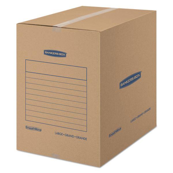 Bankers Box SmoothMove Basic Large Moving Boxes, 18l x 18w x 24h, Kraft/Blue, 15/Carton