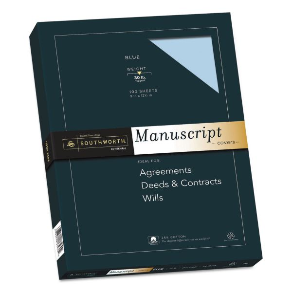 Southworth 25% Cotton Manuscript Covers, Blue, 30lb, Wove, 9 x 12 1/2, 100 Sheets