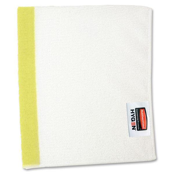 Rubbermaid Commercial HYGEN HYGEN Sanitizer Safe Microfiber Cloth, 16 x 19, White/Yellow, 288/Carton