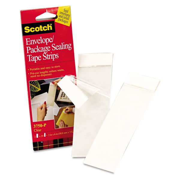 "Scotch Envelope/Package Sealing Tape Strips, 2"" x 6"", Clear, 50/Pack"