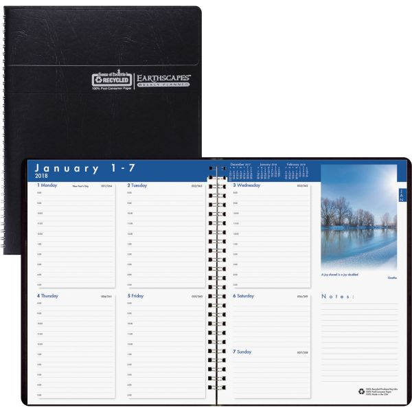 House of Doolittle Recycled Earthscapes Weekly Appointment Book, 8-1/2 x 11, Black, 2018