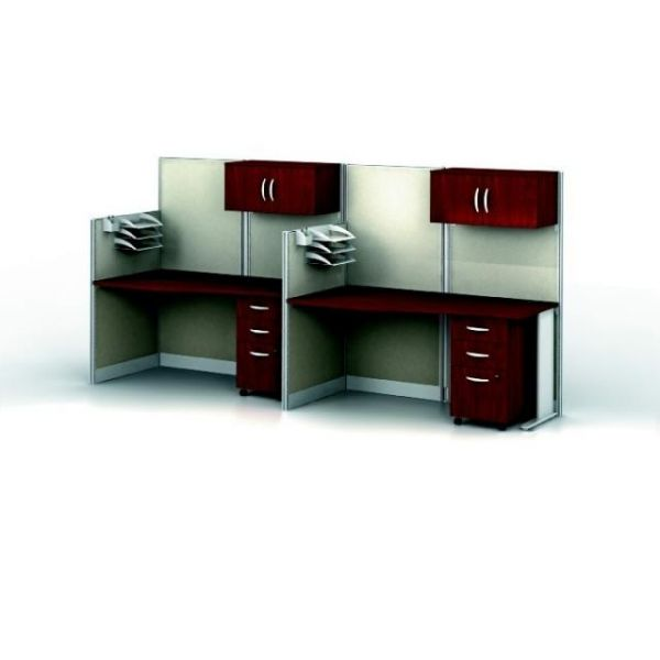 bbf Office-in-an-Hour 2 Straight Workstation Configuration - Hansen Cherry finish by Bush Furniture