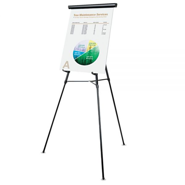 "Universal 3-Leg Telescoping Easel with Pad Retainer, Adjusts 34"" to 64"", Aluminum, Black"