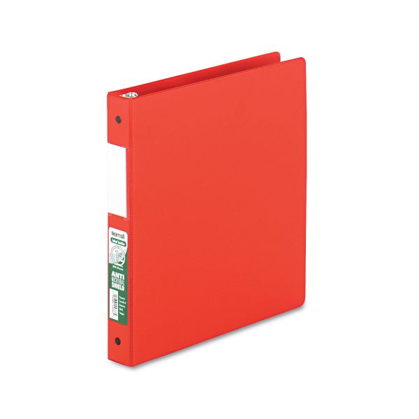 """Samsill Clean Touch Locking 3-Ring Reference Binder, Antimicrobial, 1"""" Capacity, Round Ring, Red"""