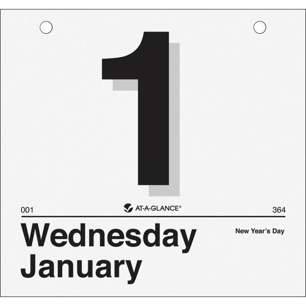 AT-A-GLANCE Today Is Daily Wall Calendar Refill, 8 1/2 x 8, White, 2019