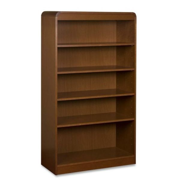 Lorell 5-Shelf Hardwood Veneer Bookcase