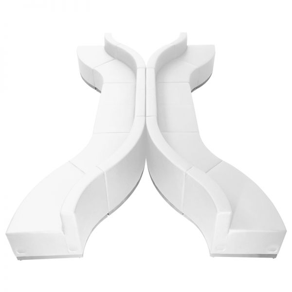 Flash Furniture HERCULES Alon Series White Leather Reception Configuration, 10 Pieces