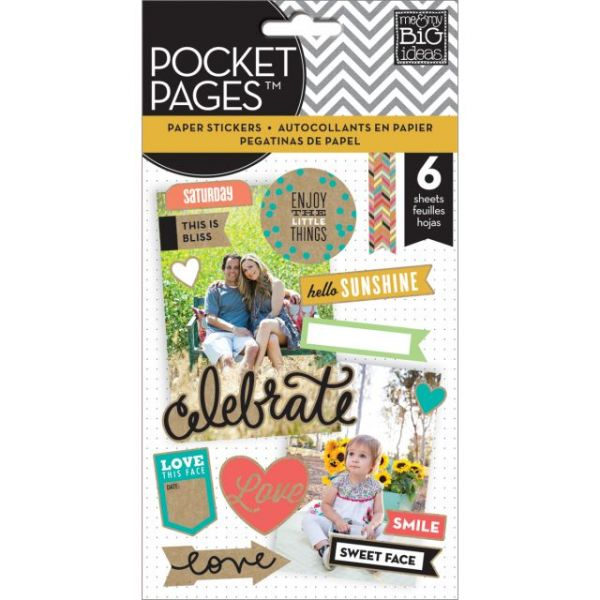 Me & My Big Ideas Pocket Pages Clear Stickers 6 Sheets/Pkg