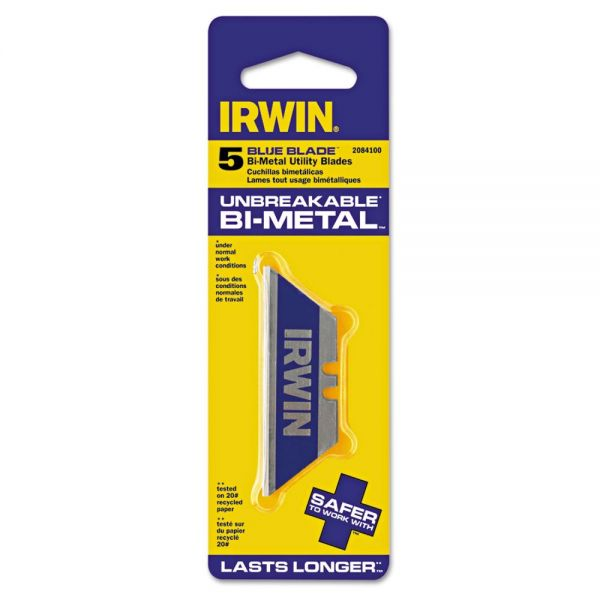 IRWIN Utility Knife Bi-Metal Traditional Replacement Blades, 5 Pack