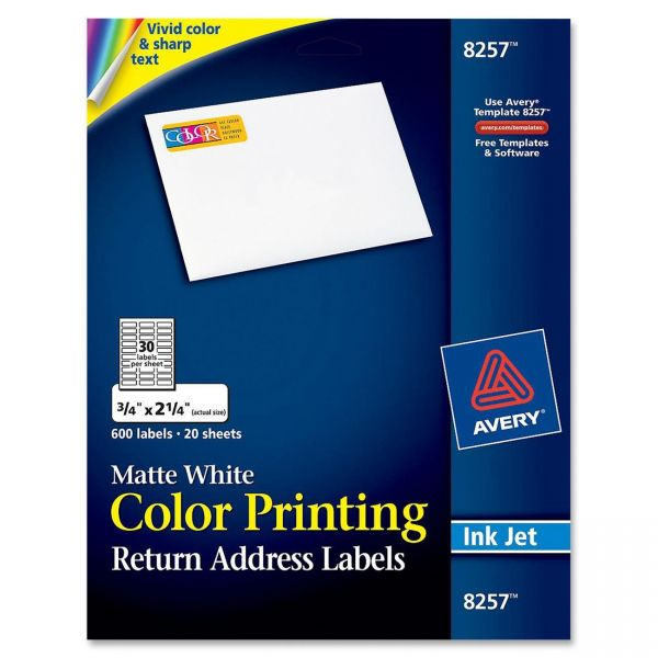 Avery Vibrant Color-Printing Address Labels, 3/4 x 2 1/4, Matte White, 600/Pack