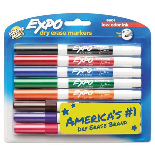 EXPO Low-Odor Dry-Erase Marker, Fine Point, Assorted, 8/Set