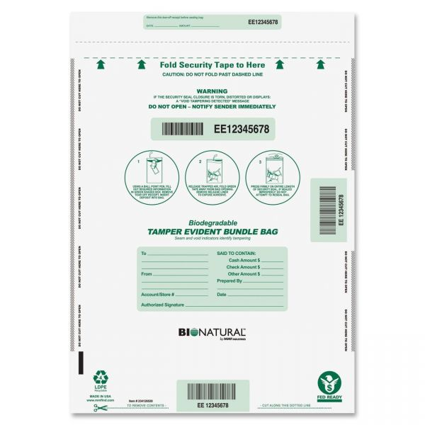 MMF Industries Bundle Cash Bags, 15 x 20, Clear, 50 per Pack