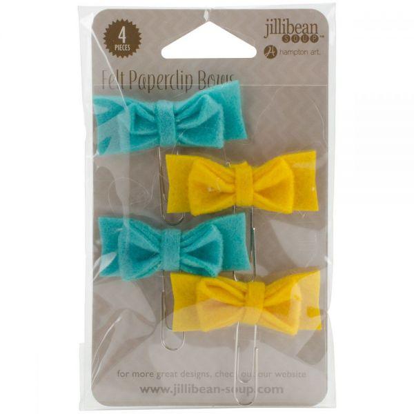 Mushroom Medley Mini Felt Bow Paper Clips 4/Pkg
