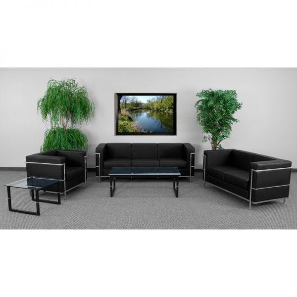 Flash Furniture HERCULES Regal Series Reception Set in Black