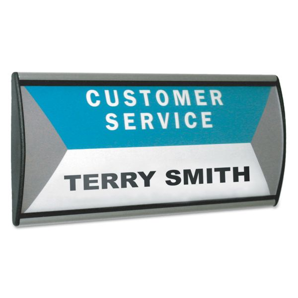 People Pointer People Pointer Wall/Door Sign, Aluminum Base, 8 3/4 x 4, Black/Silver