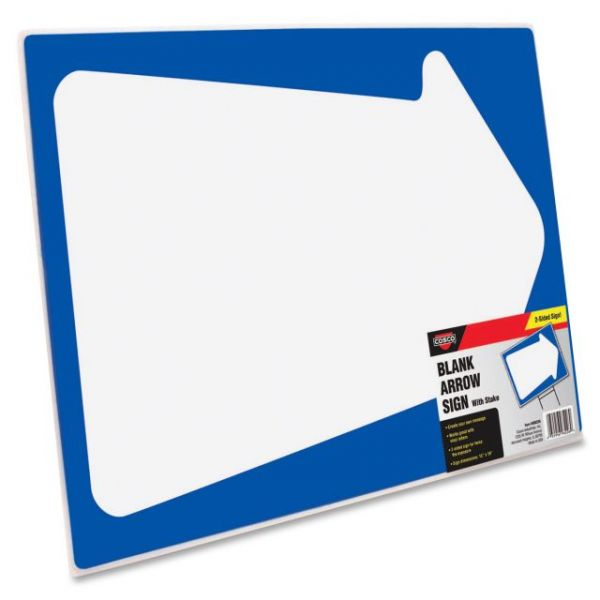 COSCO Blank White Arrow Stake Sign