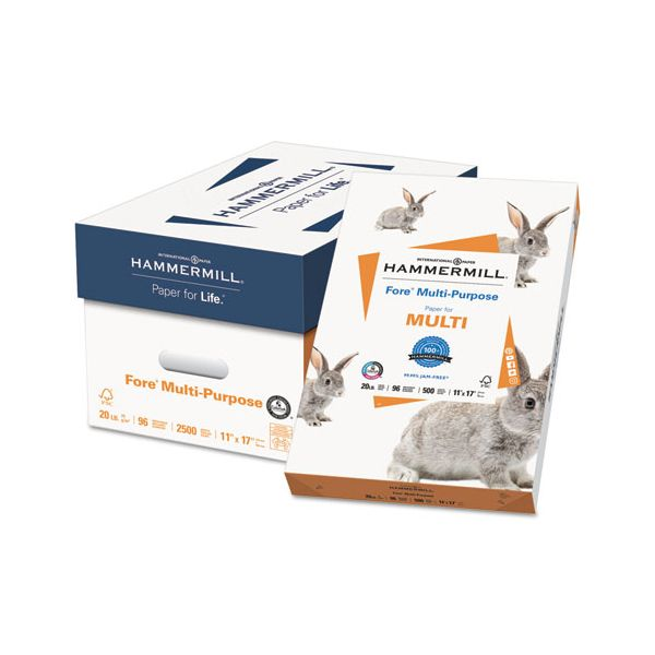 Hammermill Fore MP Multipurpose Paper, 96 Brightness, 20 lb, 11 x 17, White, 500 Sheets/Ream