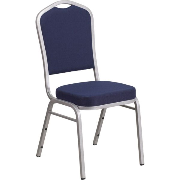 Flash Furniture HERCULES Series Crown Back Stacking Banquet Chair with Navy Fabric and 2.5'' Thick Seat - Silver Frame