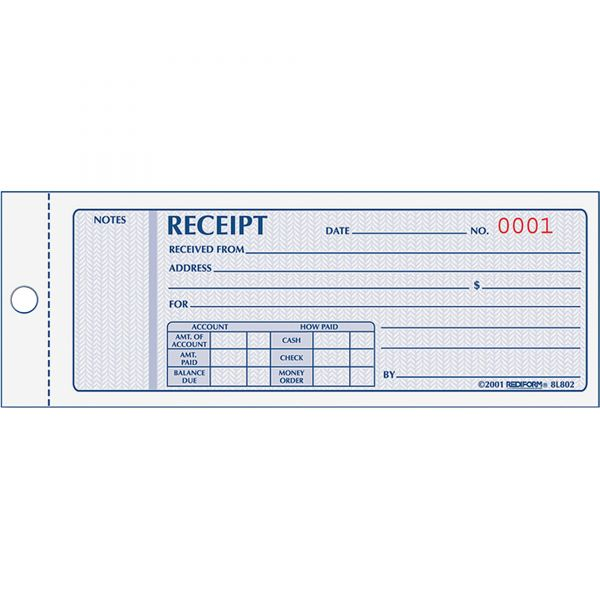 Rediform Monthly 3-Part Receipt Book