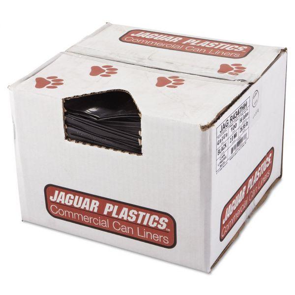 Jaguar Plastics Repro Low-Density Can Liners, 2 Mil, 43 x 47, Black, 100/Carton