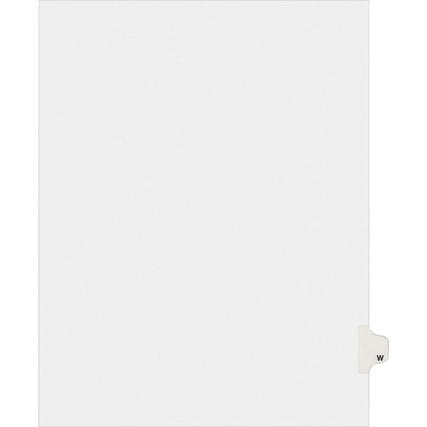 Avery Allstate-Style Legal Exhibit Side Tab Divider, Title: W, Letter, White, 25/Pack