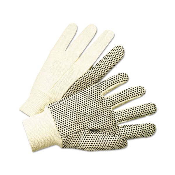 Anchor Brand 1000 Series PVC Dotted Canvas Gloves, White/Black, Large, 12 Pairs