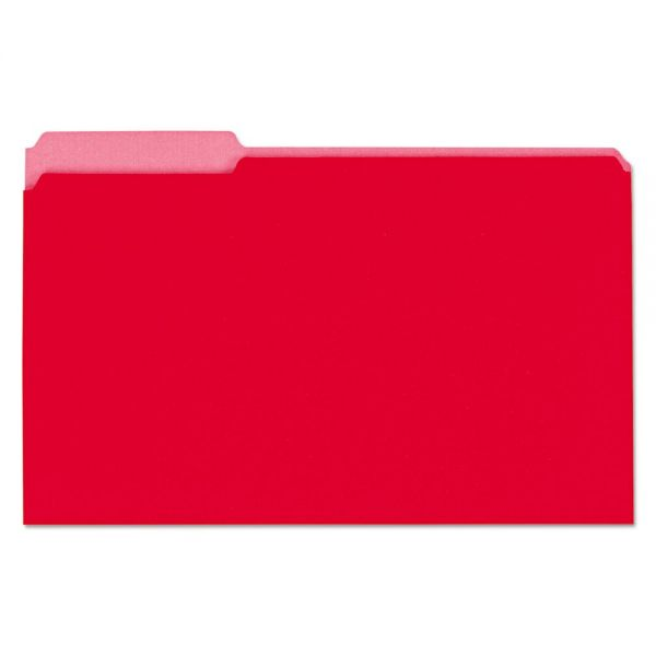 Universal Recycled Interior File Folders, 1/3 Cut Top Tab, Legal, Red, 100/Box