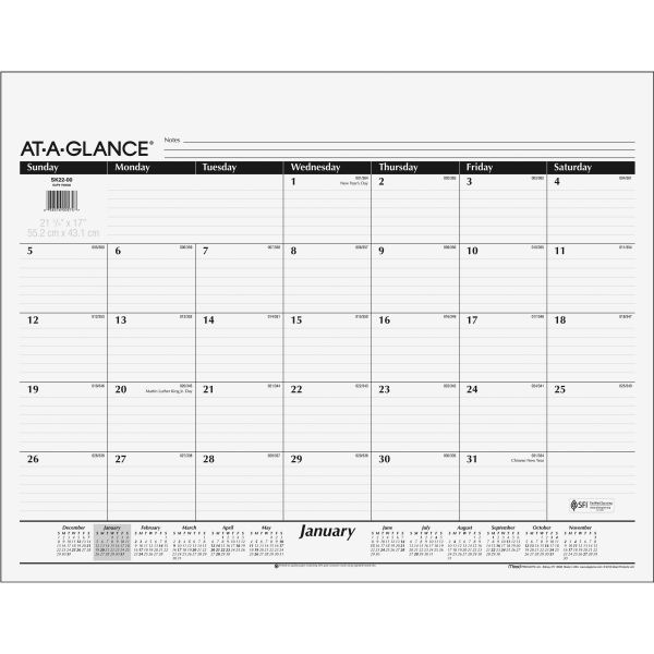 At-A-Glance Recycled Desk Pad Monthly Calendar Refill