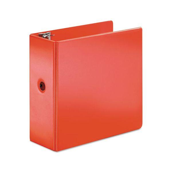 "Cardinal SuperStrength Locking 3-Ring Binder, 5"" Capacity, Slant-D Ring, Red"