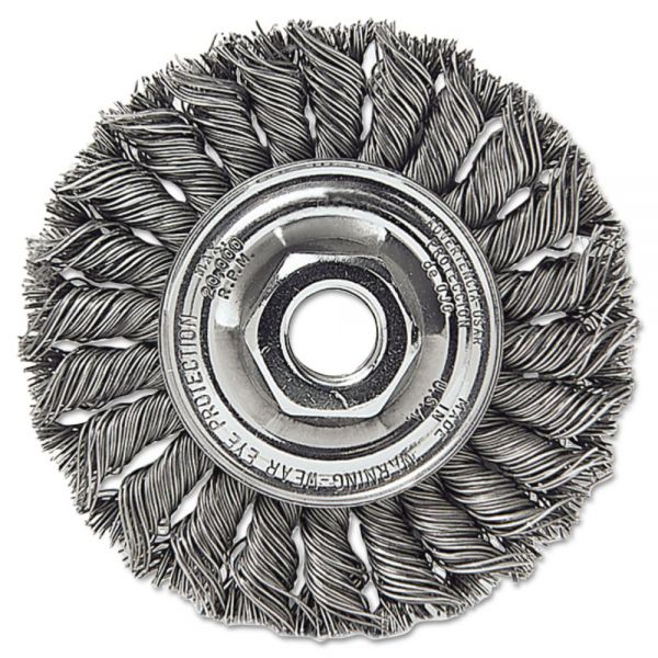 "Weiler Dualife STA-4 Twist Knot Wire Wheel, 4"" dia, .014 Wire"