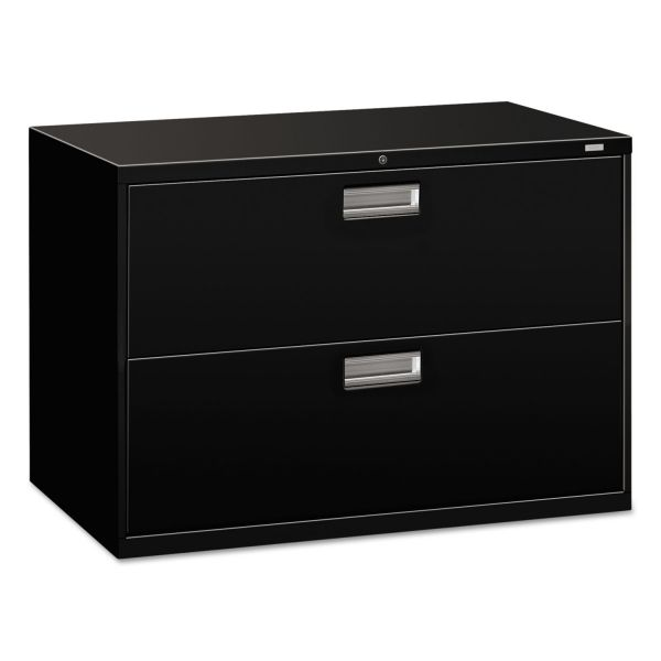 HON 600 Series Two-Drawer Lateral File, Letter/Legal/A4, 42w x 19-1/4d, Black