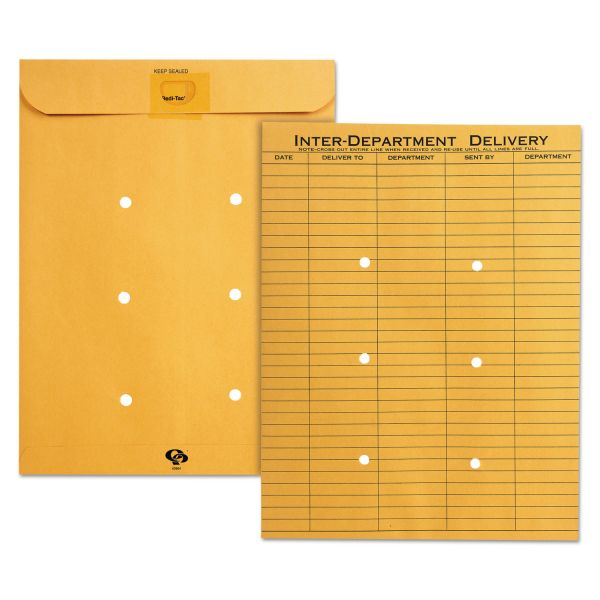 Quality Park Light Brown Kraft Resealable Redi-Tac Interoffice Envelope, 10 x 13, 100/box