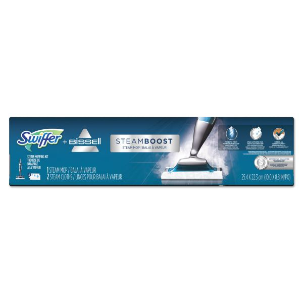 "Swiffer Bissell SteamBoost Mop, 10"" Wide Head, 48"" Handle, Blue, 2/Carton"
