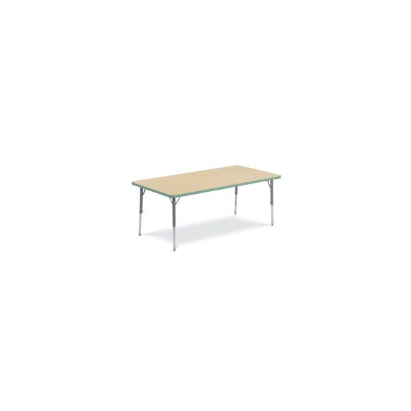 Virco Primary Collection Height Adjustable Rectangular Activity Table with Forest Green Banding