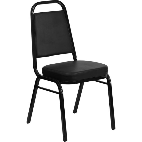 Flash Furniture HERCULES Series Trapezoidal Back Stacking Banquet Chair with Black Vinyl and 2.5'' Thick Seat - Black Frame