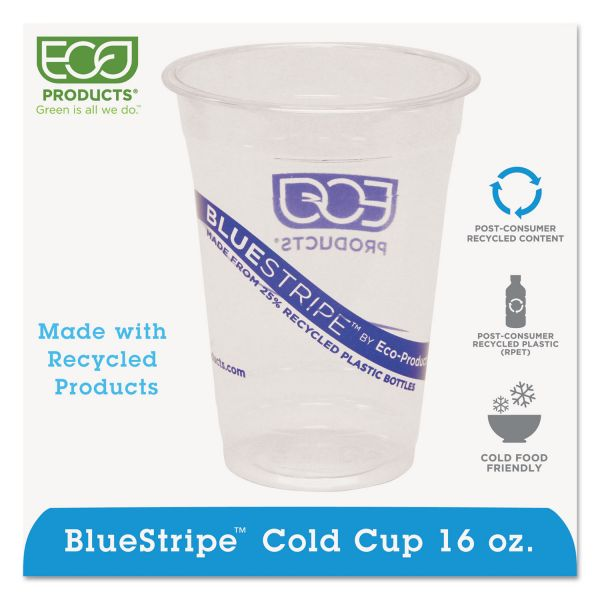 Eco-Products BlueStripe 16 oz Plastic Cups