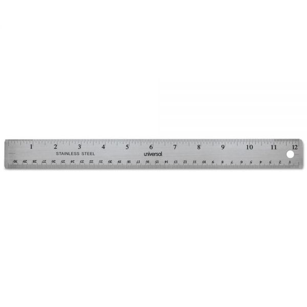 Universal Stainless Steel Ruler with Cork Back and Hanging Hole