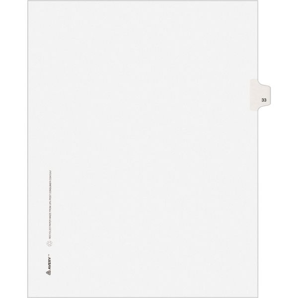 Avery-Style Legal Exhibit Side Tab Divider, Title: 33, Letter, White, 25/Pack