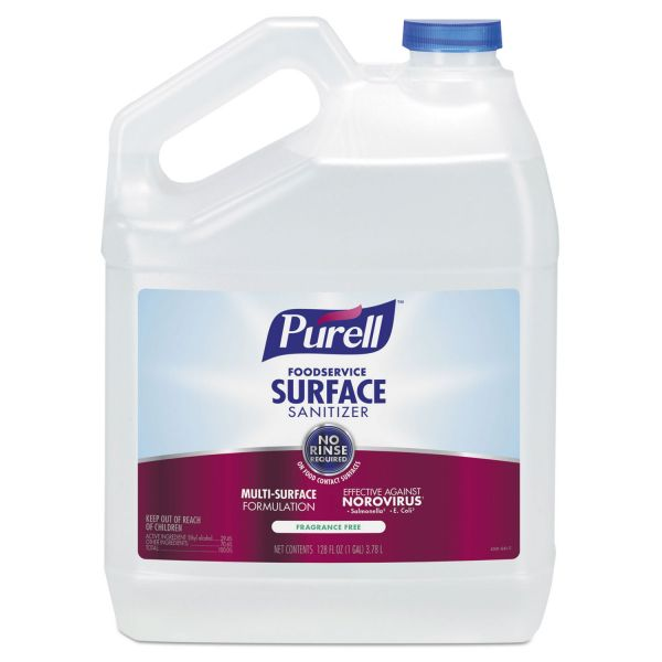 PURELL Foodservice Surface Sanitizer, Fragrance Free, 128 oz Bottle, 4/Carton