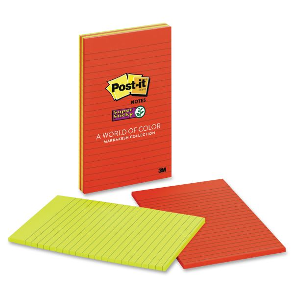 Post-it Notes Super Sticky Pads in Marrakesh Colors, Lined, 4 x 6, 90-Sheet, 3/Pack