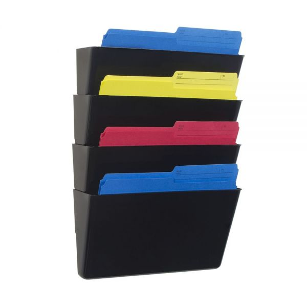 Storex Wall Files, 4-Pack, Letter, Black