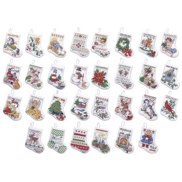 Bucilla Tiny Stocking Ornaments Counted Cross Stitch Kit